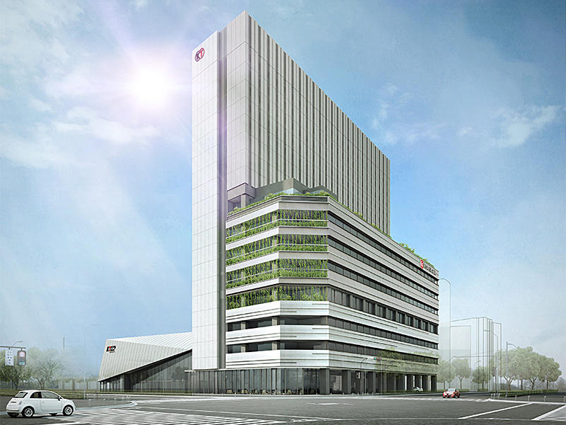 47街区に建設予定のコーエーテクモゲームス本社ビルの外観写真