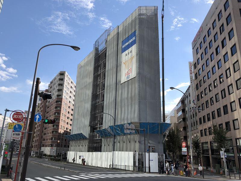桜木町に建設中のリソルホテルの工事現場