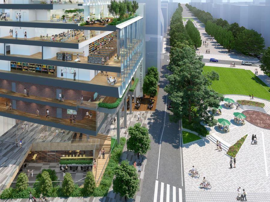教育文化センター跡地にはいる関東学院大学の複合施設
