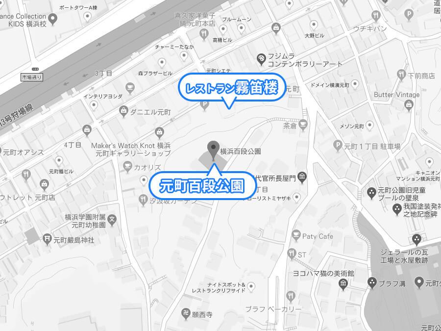 元町百段公園のマップ