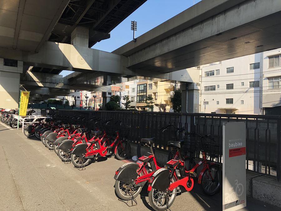 横浜コミュニティサイクル「baybike(ベイバイク)」の駐輪風景