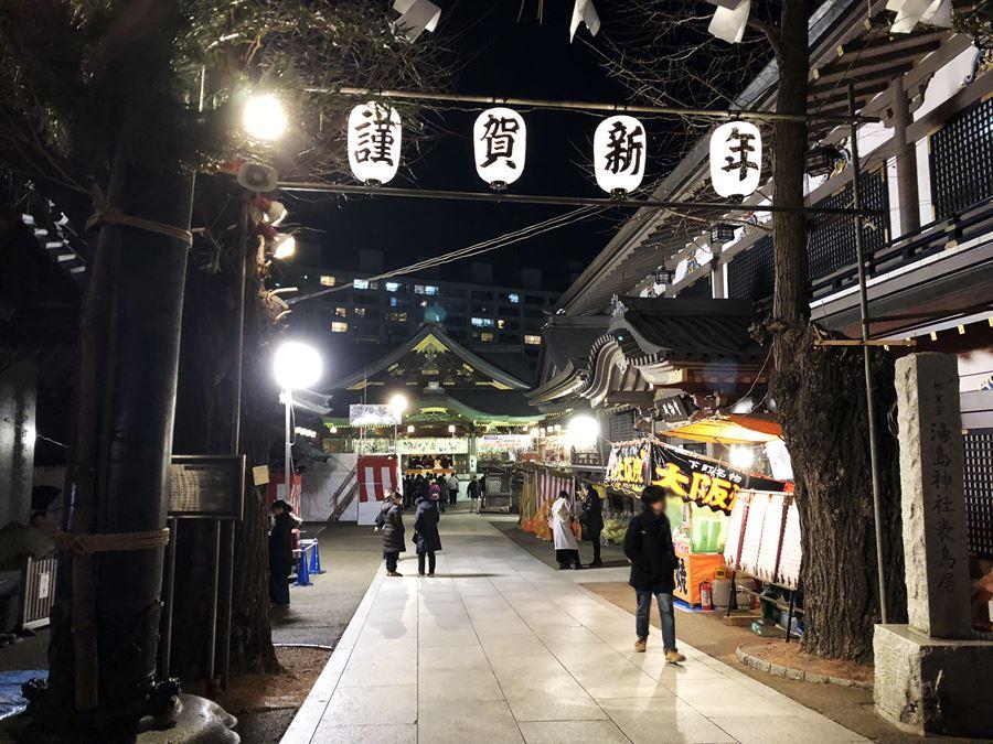 2018年1月2日夜の湯島天神(湯島天満宮)