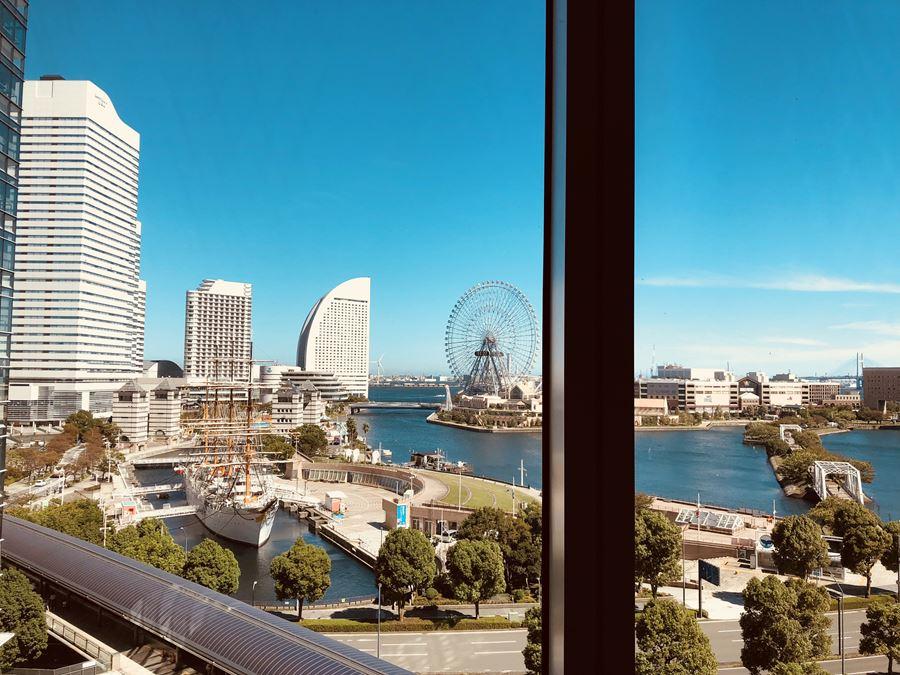 JR桜木町駅直結コレットマーレ6階にある「土古里」から見える、みなとみらいの景色