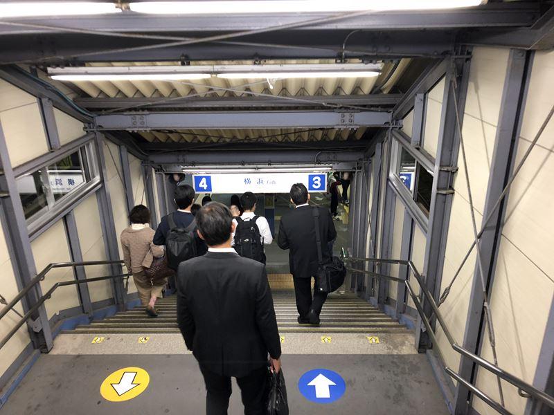 立体工事中の相鉄線星川駅の階段