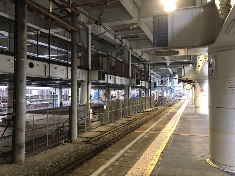 立体工事中の相鉄線星川駅の様子