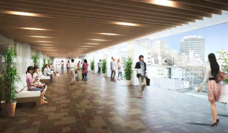 横浜駅西口の駅前棟から、鶴屋町棟へつながるペデストリアンデッキ