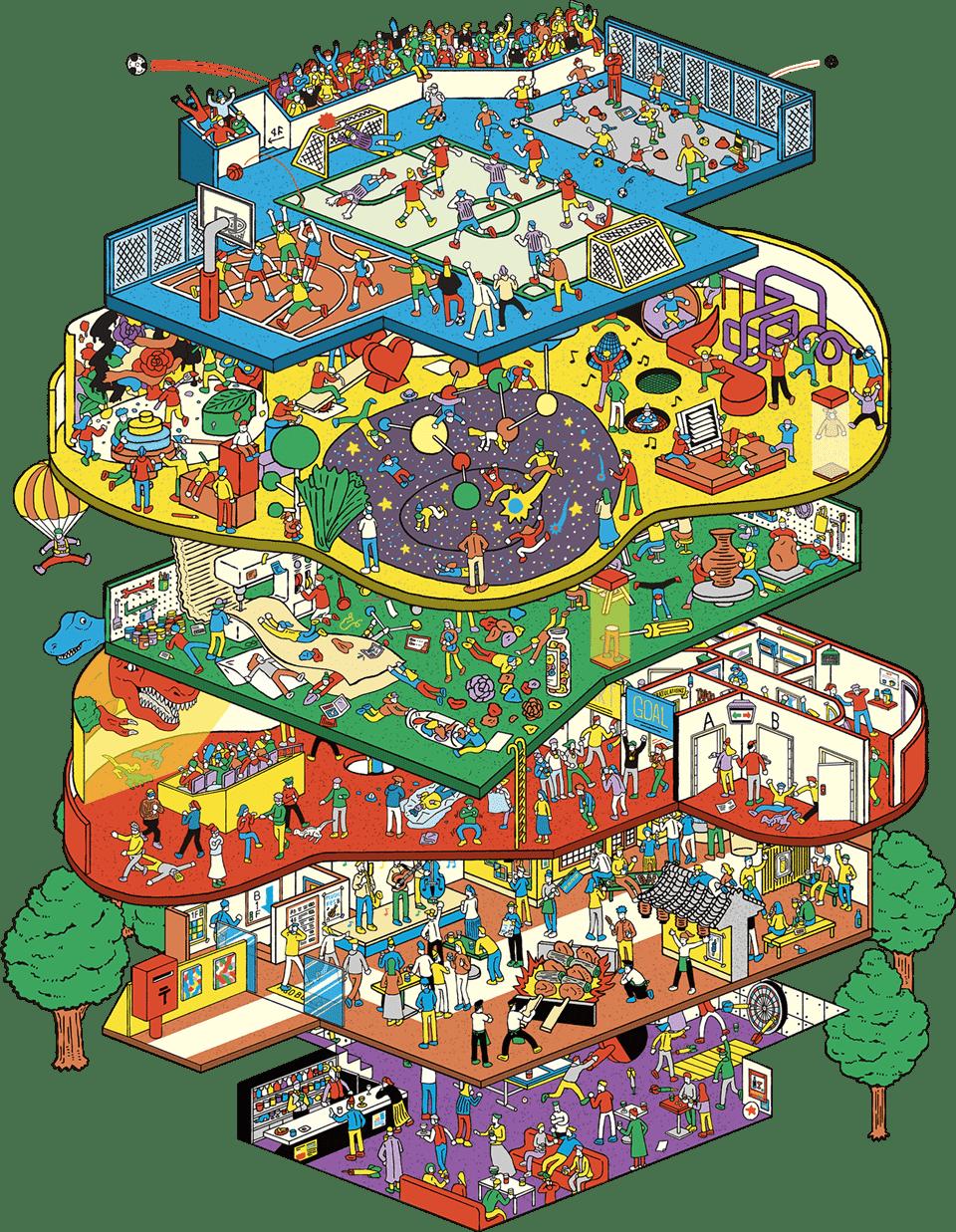 横浜駅東口、みacなみ通路直通予定の複合型エンタメ施設「アソビル」フロア構成図