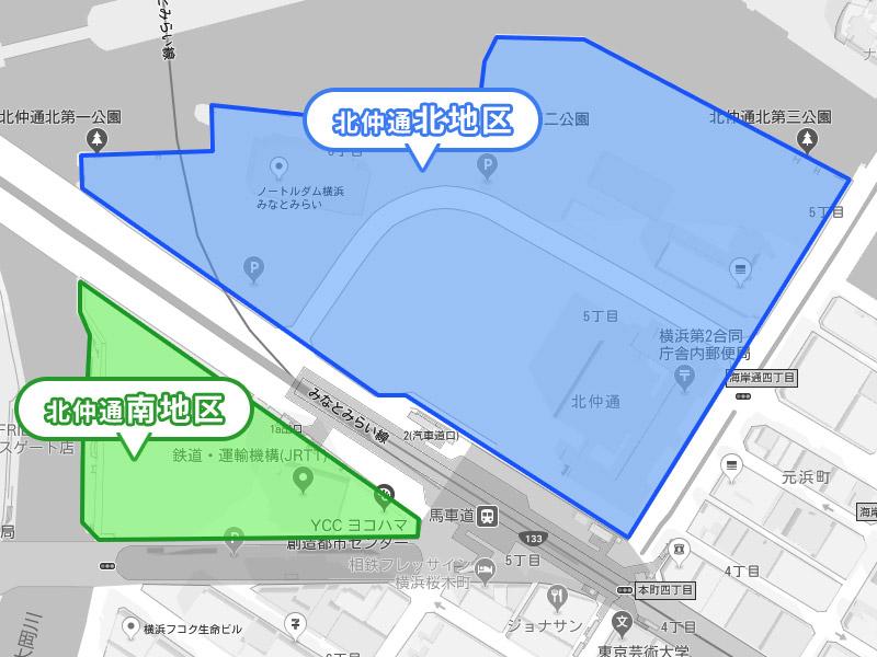 栄本町を境に北仲通北地区と南地区の再開発マップ