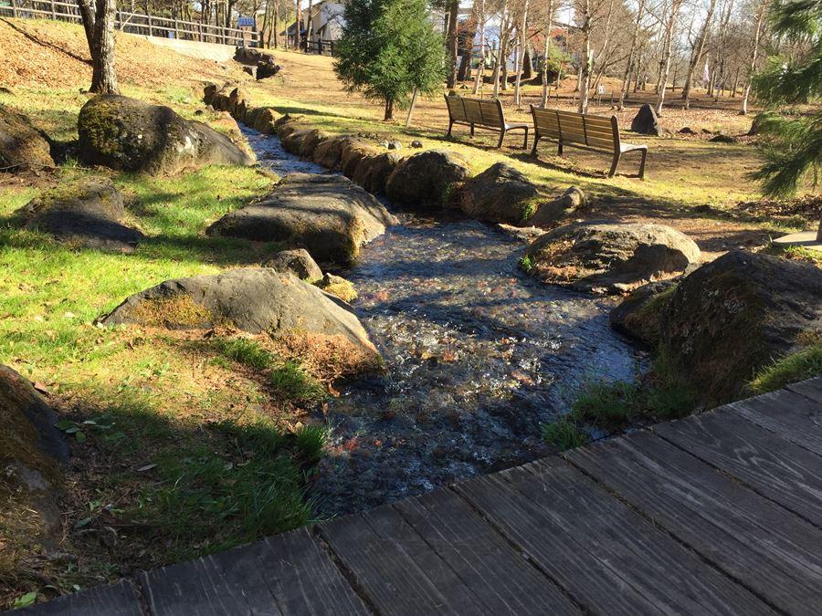 山梨県北杜市にある、日本名水百選にも選ばれた三分一湧水の写真