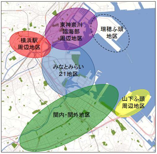 横浜都心臨海部のマップ