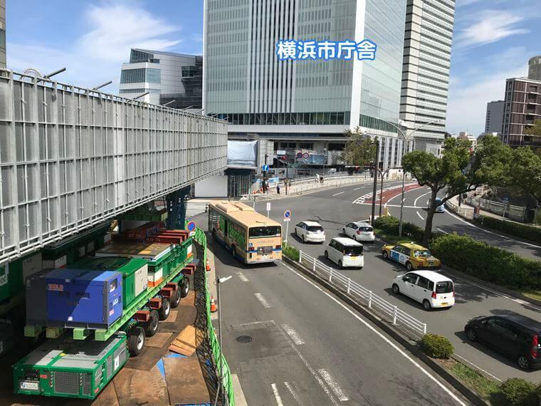 JE桜木町駅の新改札にできる人道橋建設工事写真