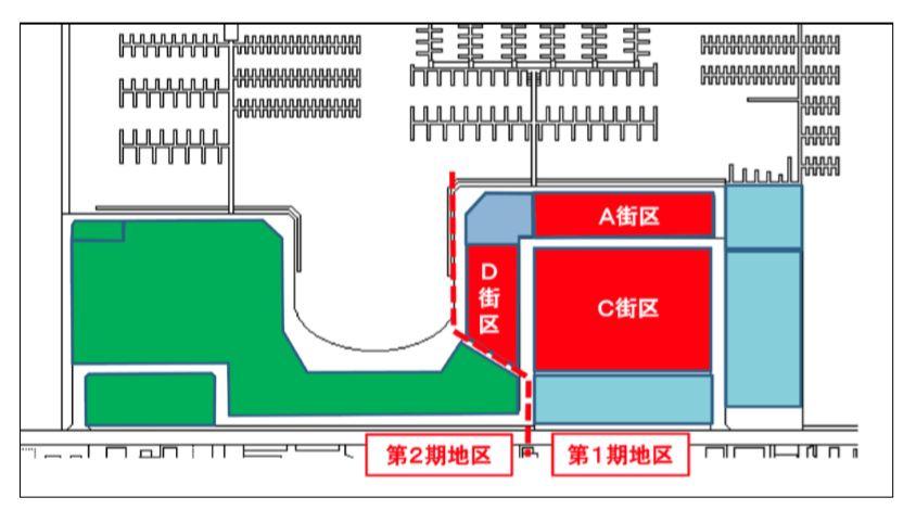 大規模リニューアルで建て替え新築工事中のミツイアウトレットパーク横浜ベイサイドの街区図