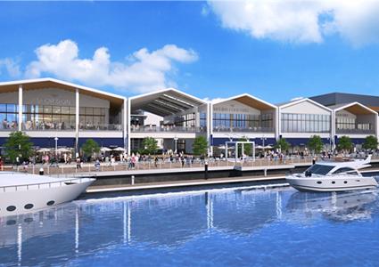 大規模リニューアルで建て替え新築工事中のミツイアウトレットパーク横浜ベイサイドの完成予想図