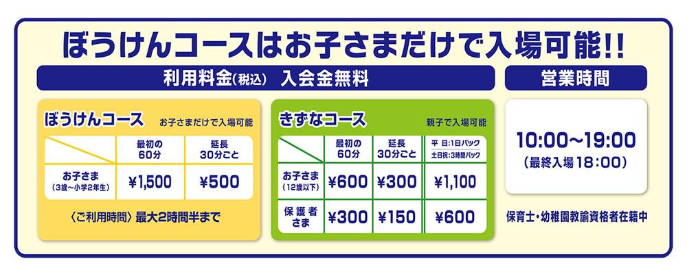 キッズーナプラス港北店の料金表