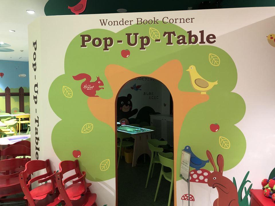 ハムリーズ横浜ワールドポーターズ店にあるハムリーズカフェのポップアップテーブル