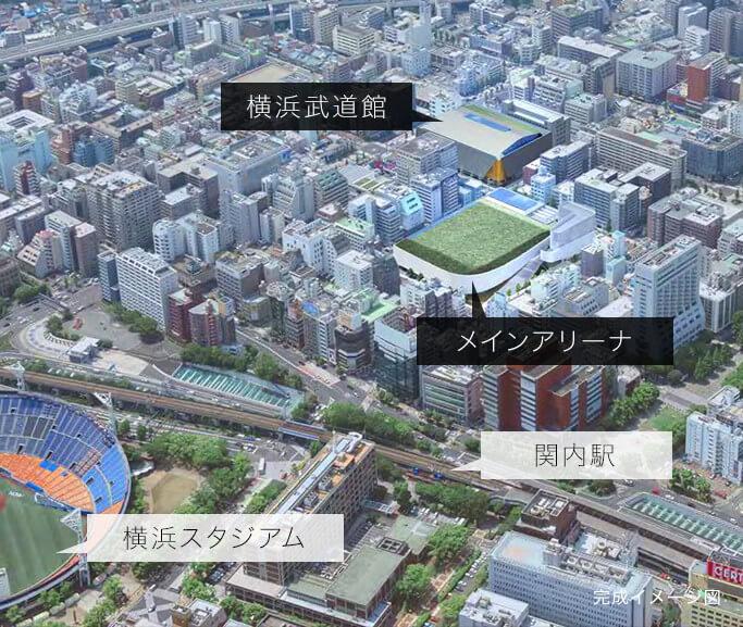 横浜文化体育館再整備事業のイメージマップ