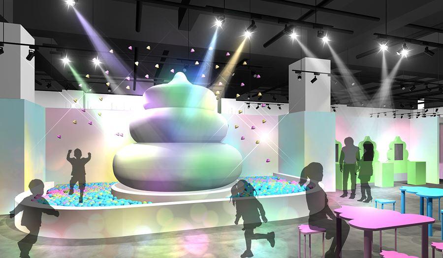 アソビル2Fの常設体験イベントフロア「ALE-BOX (エールボックス)」にできる「うんこミュージアム」にあるうんこ広場のイメージ写真