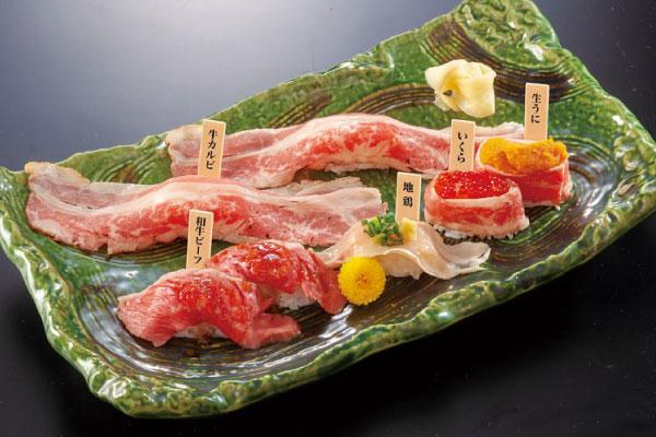 横浜駅直通アソビル1F「横浜POST STREET」の飲食テナント肉寿司の牛右衛門