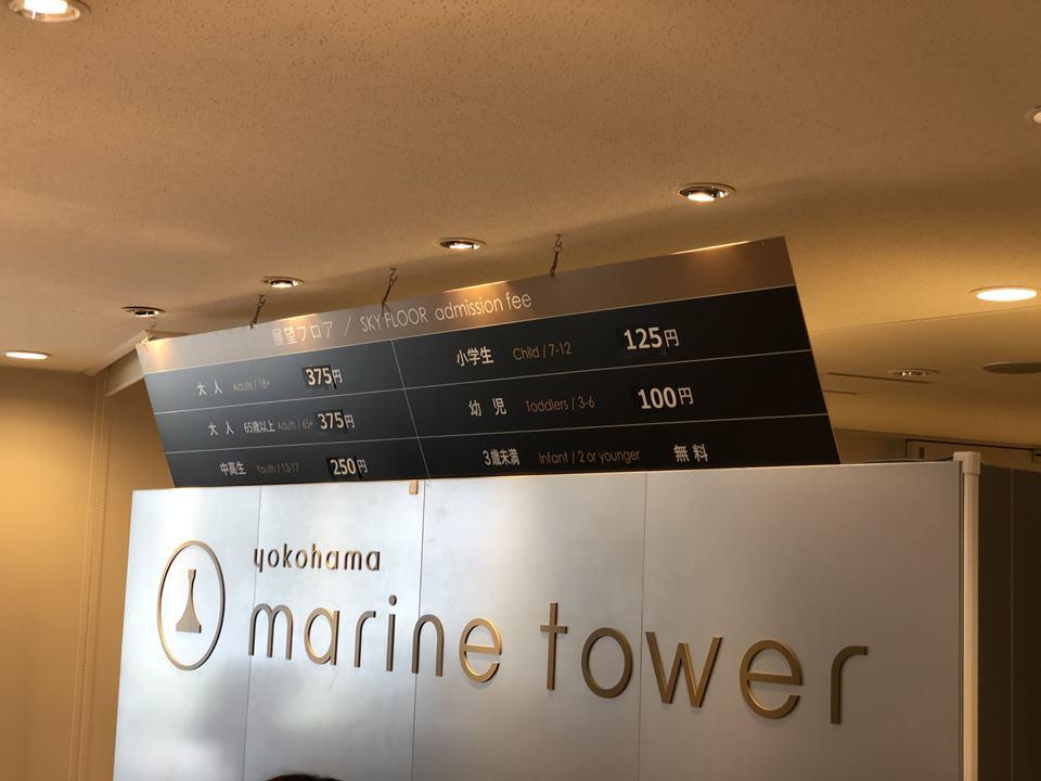 横浜マリンタワーの料金表(2019年3月)