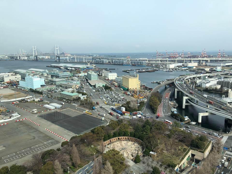 横浜マリンタワーから見える新山下地区(2019年3月)