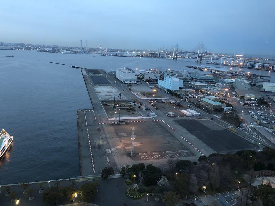 横浜マリンタワーから見える山下埠頭(2019年3月)