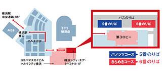 「KEIKYU OPEN TOP BUS 横浜」のりばマップ