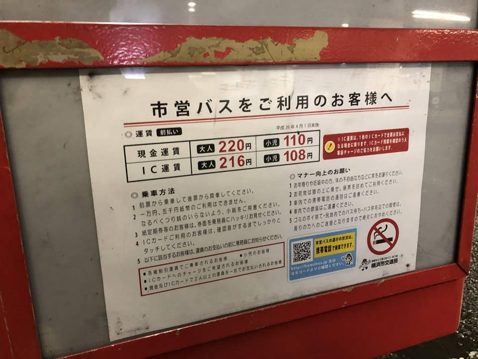 ぶらり野毛山動物園バスの料金表