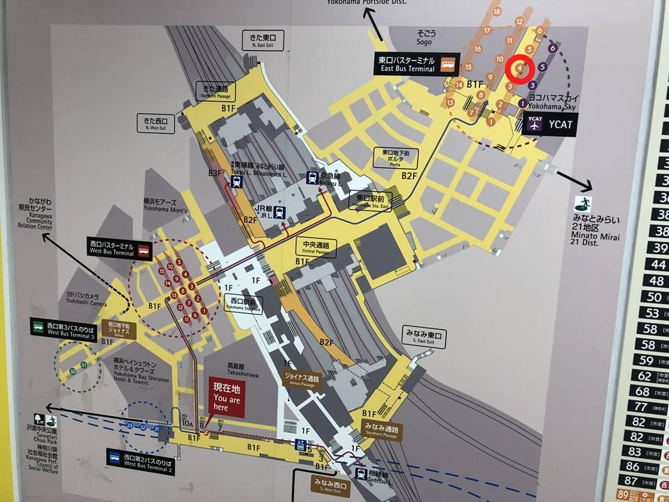 横浜駅のバスターミナルマップ