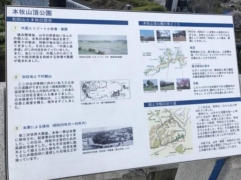 本牧山頂公園の説明看板