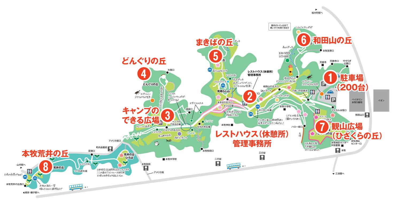 本牧山頂公園の園内マップ
