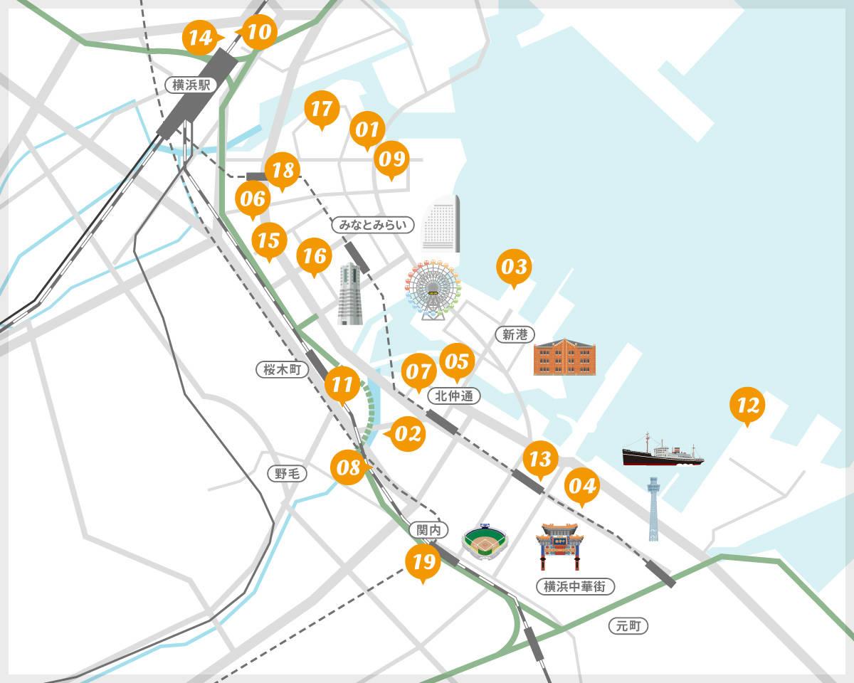 横浜都心臨海部の新たなホテル・宿泊施設建設マップ