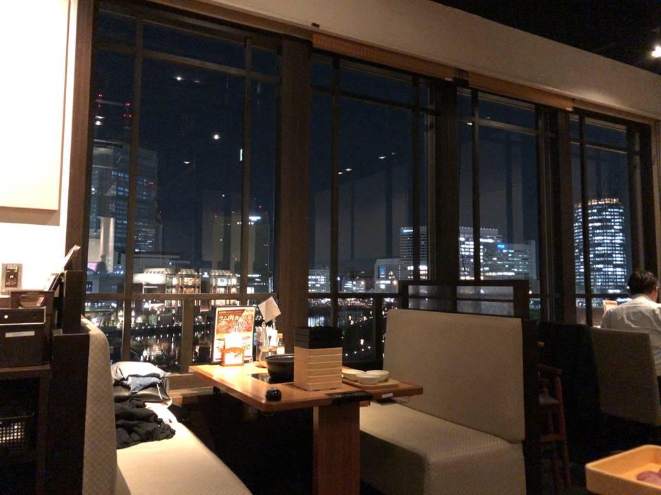 しゃぶ葉横浜ワールドポーターズ店から見えるみなとみらいの夜景