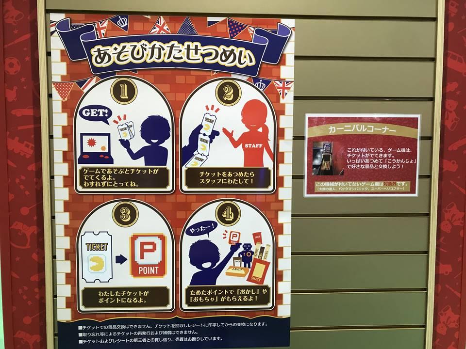 ハムリーズ横浜ワールドポーターズに新しくできたカーニバルコーナーの説明写真