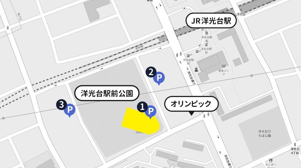 洋光台駅「はまぎん こども宇宙科学館」の駐車場マップ