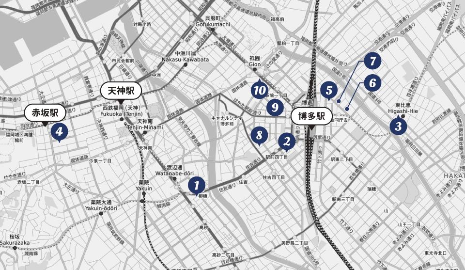福岡市-博多駅周辺のアパホテル分布図