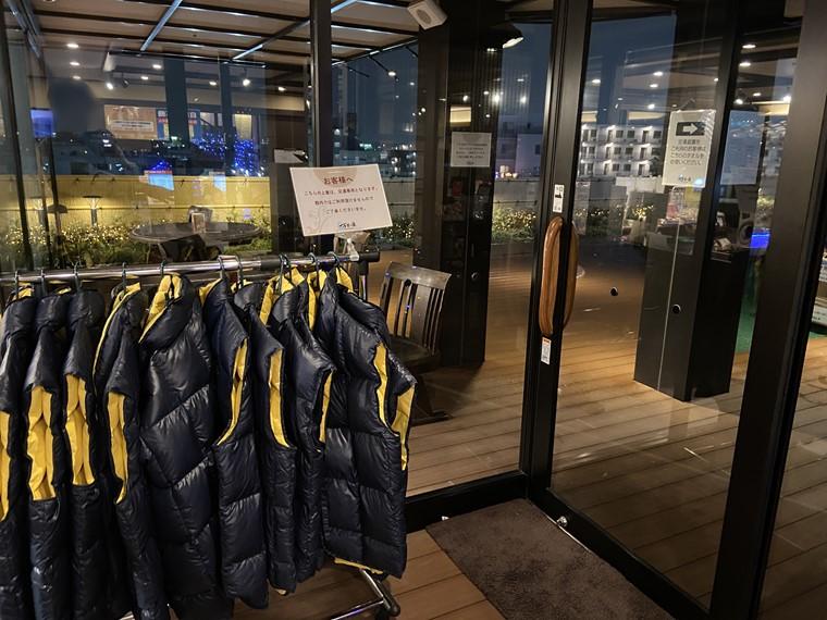 万葉の湯 町田館の足湯庭園に行く際に着用できる防寒着の写真