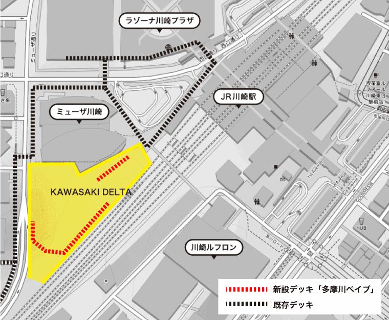 川崎駅西口にできる川崎デルタのマップ