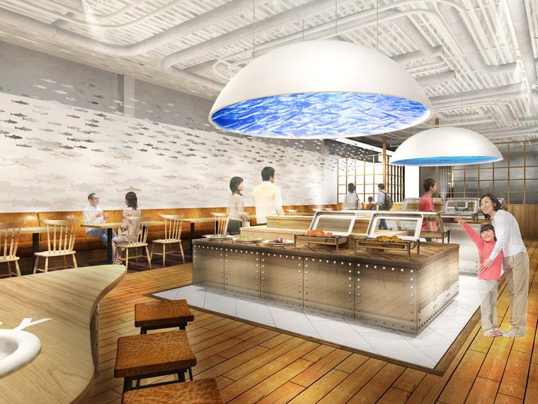 川崎駅前商業施設「ルフロン川崎」にできるカワスイ水族館のビュッフェレストラン「AOW (エーオーダブリュー)」