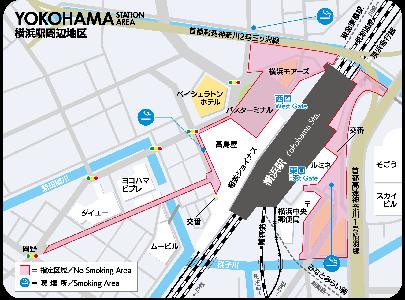 横浜市の喫煙禁止区域マップ:横浜駅周辺地区