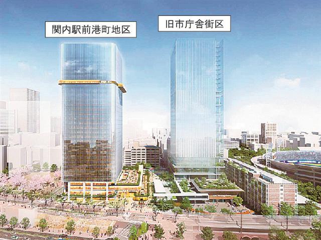 関内駅前港町地区市街地再開発の完成イメージ